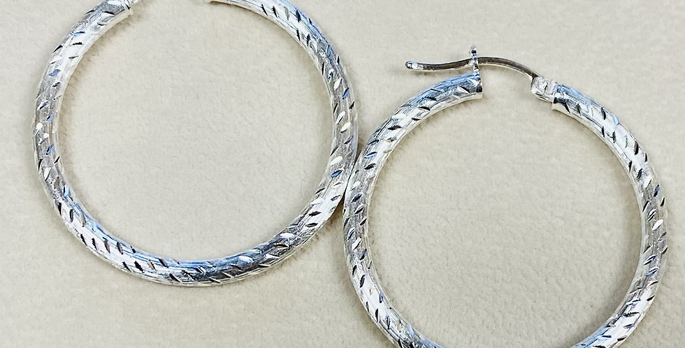 Brush Finish Hoop Earrings in .925 Sterling Silver
