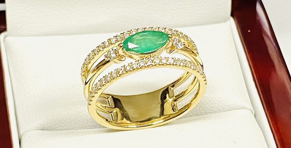 Emerald .52 ct & Diamond .26 ctw Three Row Band in 14K Yellow Gold