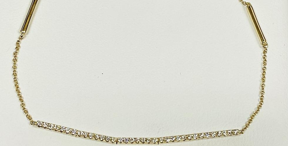 .23 ctw Diamond Bar Bracelet in 14K Yellow Gold With Gold Bars