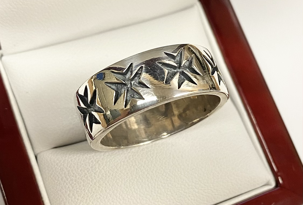9MM Antiqued Cross Ring In .925 Sterling Silver