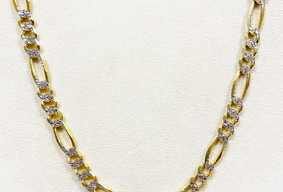 "Solid 7MM Figaro Chain Diamond Cut 22"" In 14K Yellow Gold"