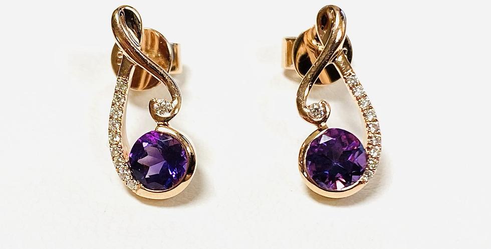 Amethyst & Diamond Stud Earrings In 14K Rose Gold