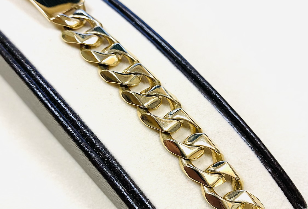 12mm Cuban Link ID Bracelet In 14K Yellow Gold 8.5""