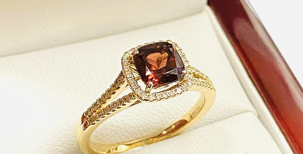 Cushion Cut 1.20 ct Garnet & Halo Diamond .20ctw Ring In 14k Rose Gold