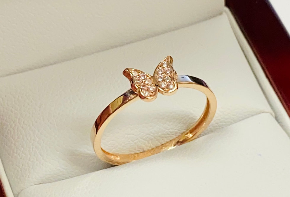 Butterfly Cubic Zirconia Ring in 14K Rose Gold