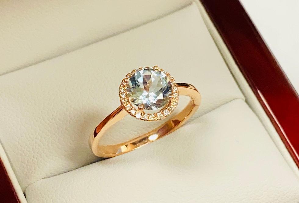 Aquamarine 1.15ct & Diamond .10 ctw Ring in 14K Rose Gold