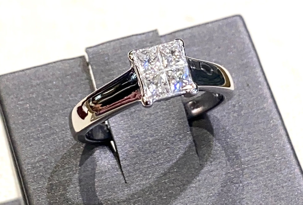 .60 ctw Princess Cut Cluster Diamond Engagement Ring in 14K White Gold