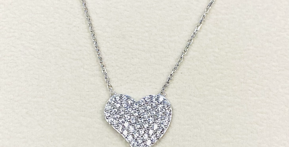 """Curved Heart Pave Cubic Zirconia Pendant In Sterling Silver With 18"""" Chain"""