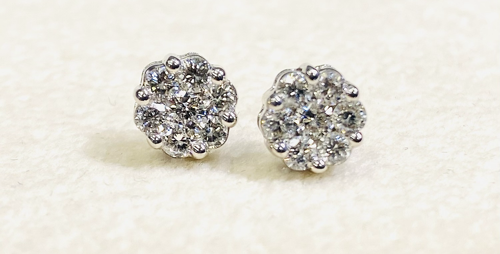 .60 ctw Diamond Cluster Stud Earrings in 14K White Gold