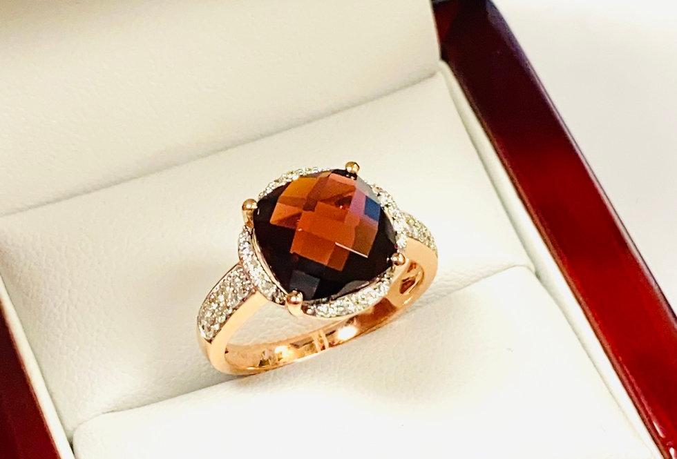 6.00 ct Checkerboard Cut Garnet & Diamond .26 ctw Halo In 14k Rose Gold
