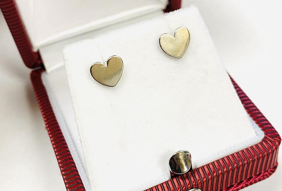 High Polish Heart Shape Stud Earrings in .925 Sterling Silver