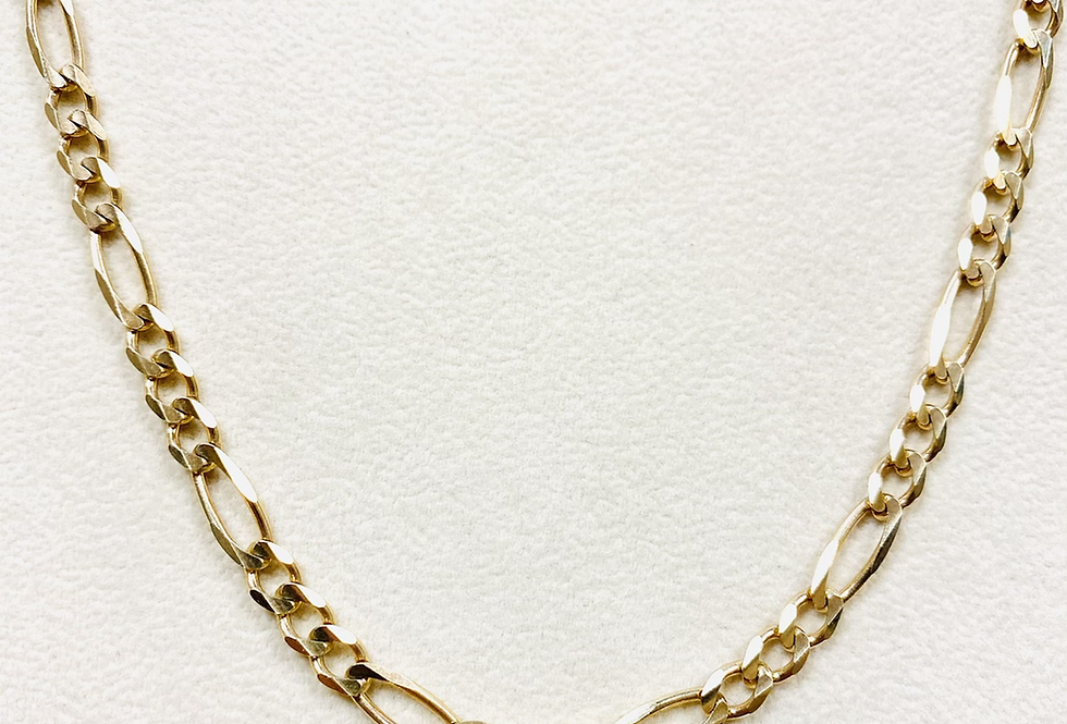 4.5MM Solid Figaro Chain In 14K Yellow Gold