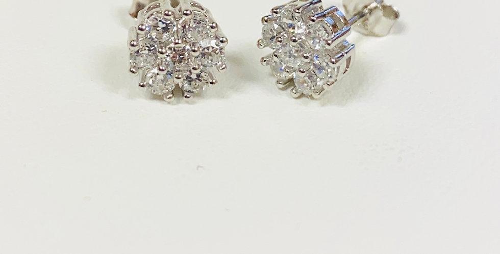 Cubic Zirconia Cluster Stud Earrings in .925 Sterling Silver