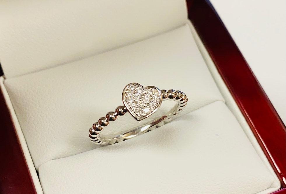 Diamond .12 ctw Heart Ring In 14K White Gold