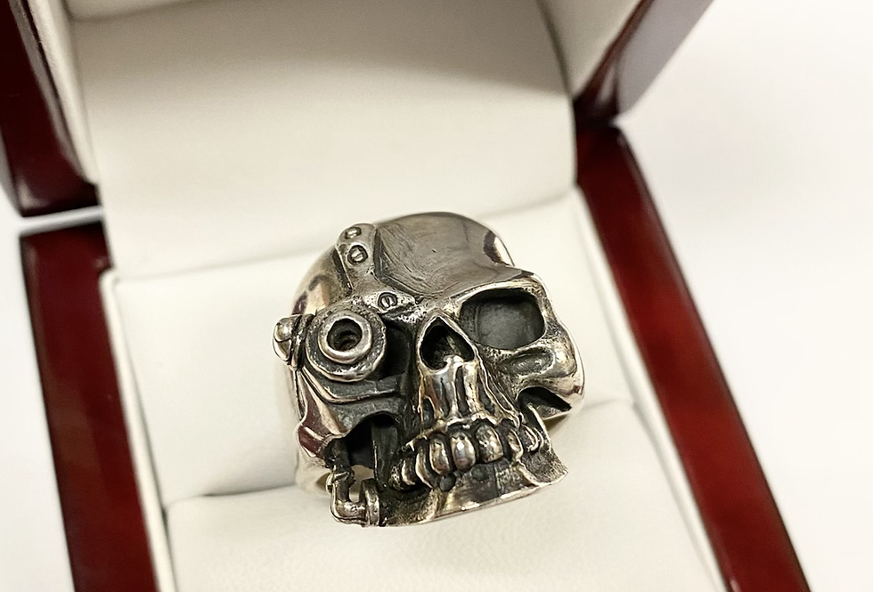Skull Ring With Robot Eye In .925 Sterling Silver