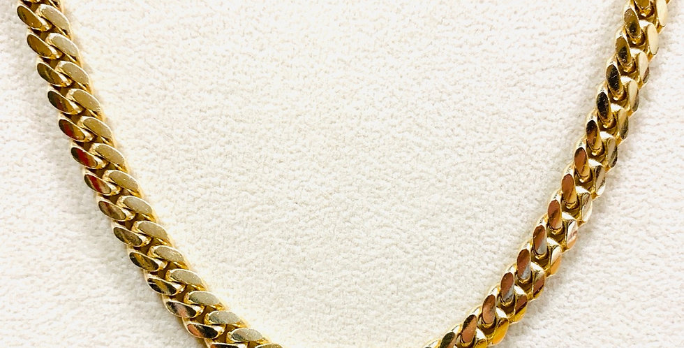 """Solid 6MM Miami Cuban Chain 24""""  In 14K Yellow Gold"""