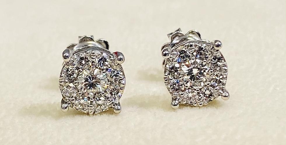 .85 CTW Diamond Cluster Stud Earrings in 14K White Gold