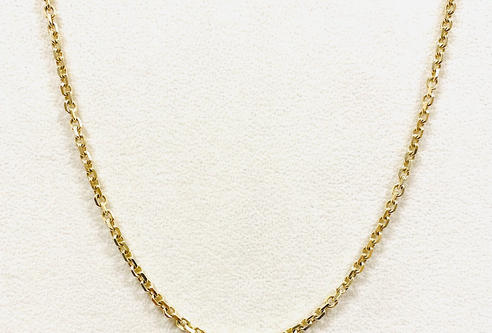 """Diamond Cut Cable Chain In 14k Yellow Gold With Lobster Clasp 21"""" 12g 3mm"""