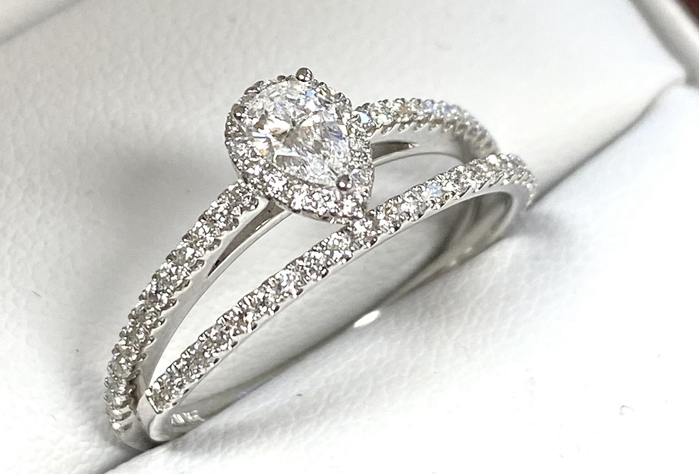 Pear Shape Diamond Halo .65ctw Wedding Set in 14K White Gold