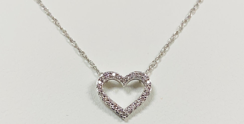 "Open Diamond Heart Pendant With 18"" Necklace In 14K White Gold"
