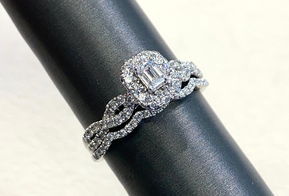 Emerald Cut Diamond Shape Diamond Halo .63 CTW Wedding Set in 14K White Gold