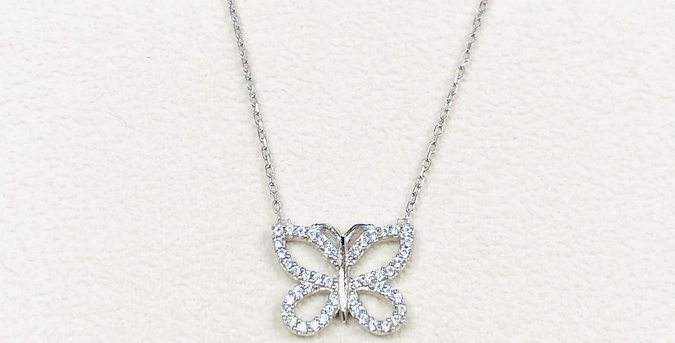 """Butterfly Open Butterfly Cubic Zirconia Pendant In Sterling Silver With 18"""" Chai"""