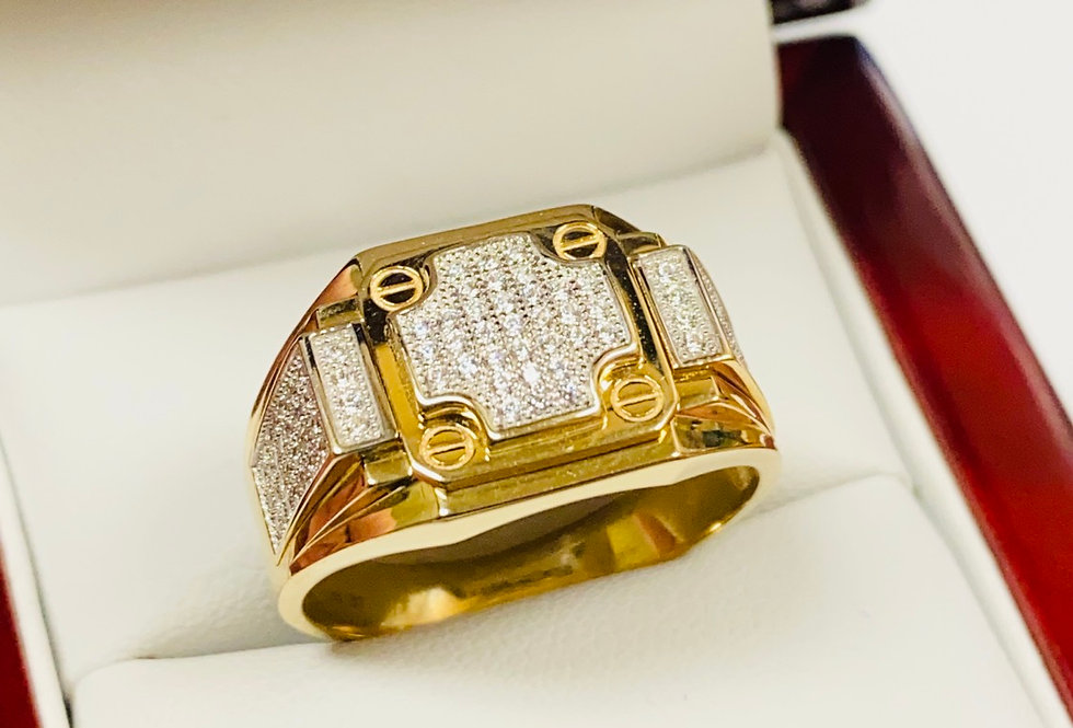 Brilliant Cubic Zirconia Men's Ring In 14K Yellow Gold