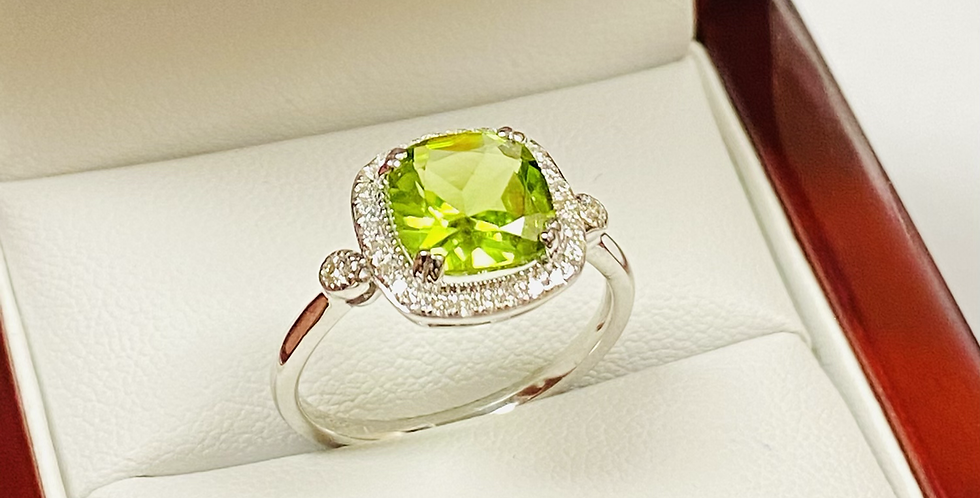 Natural 2.10 ct Cushion Cut Peridot & Diamond .18ctw Halo Ring In 14K White Gold