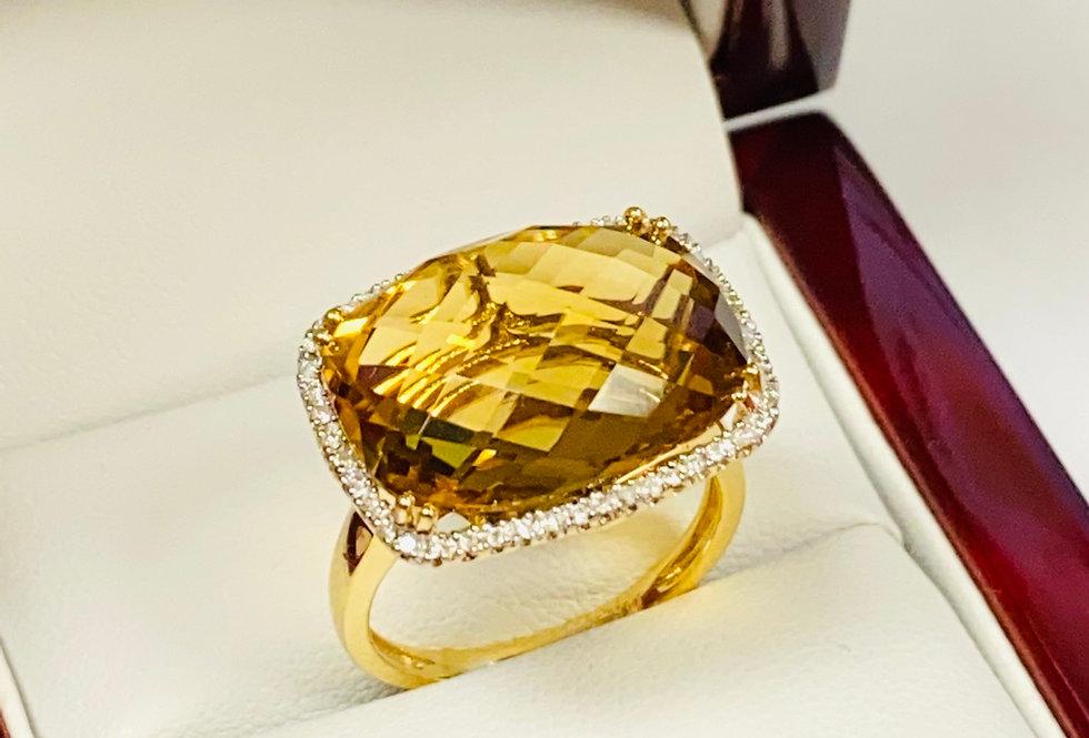 12.00 CT Checkerboard Cut Citrine & Diamond .20ctw Ring in 14K Yellow Gold