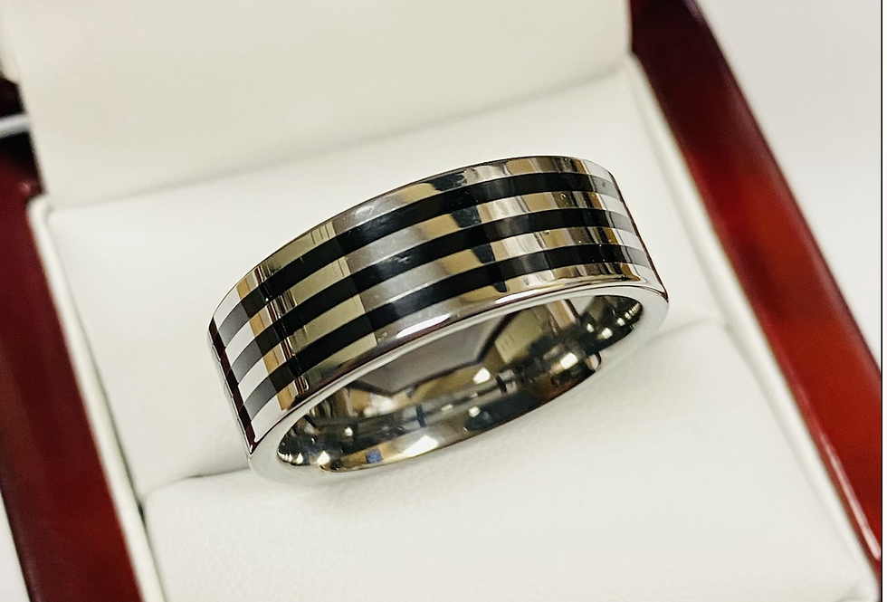 8MM 3 Row High Polish Tungsten Band Comfort Fit