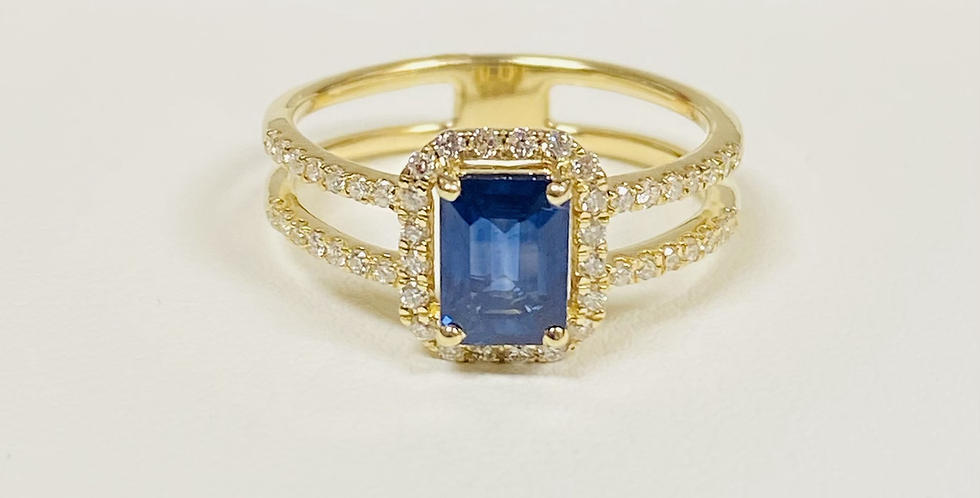Emerald Cut Sapphire & Diamond Double Band Ring in 14K Yellow Gold