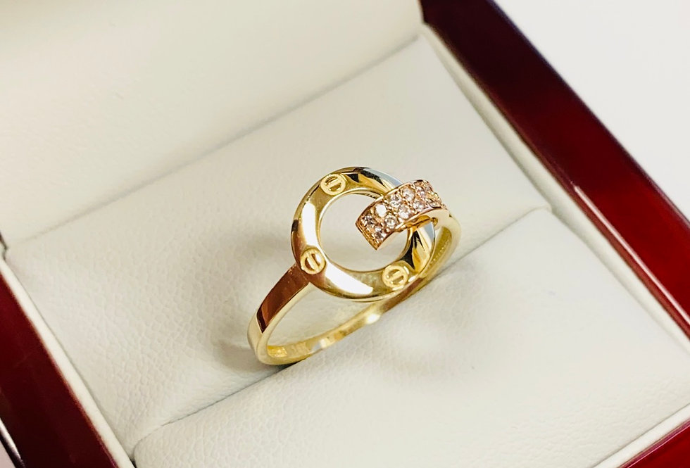 Open CZ Ring In 14K Yellow Gold