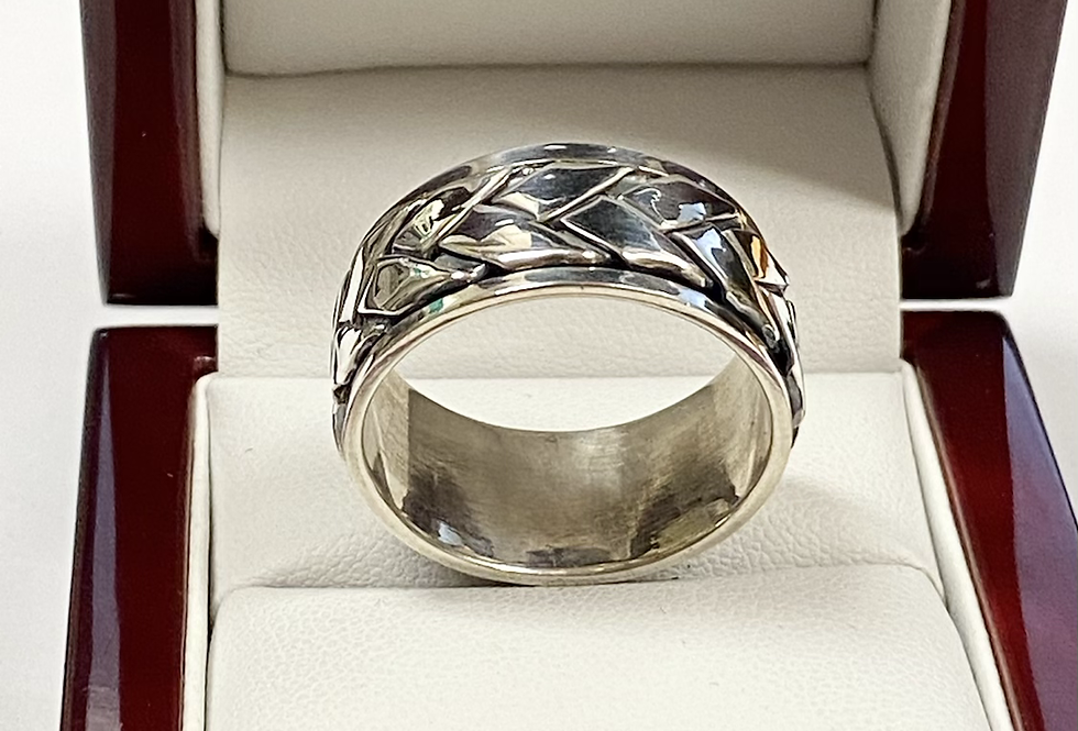 11MM Men's Braided Band With Moveable Center In .925 Sterling Silver