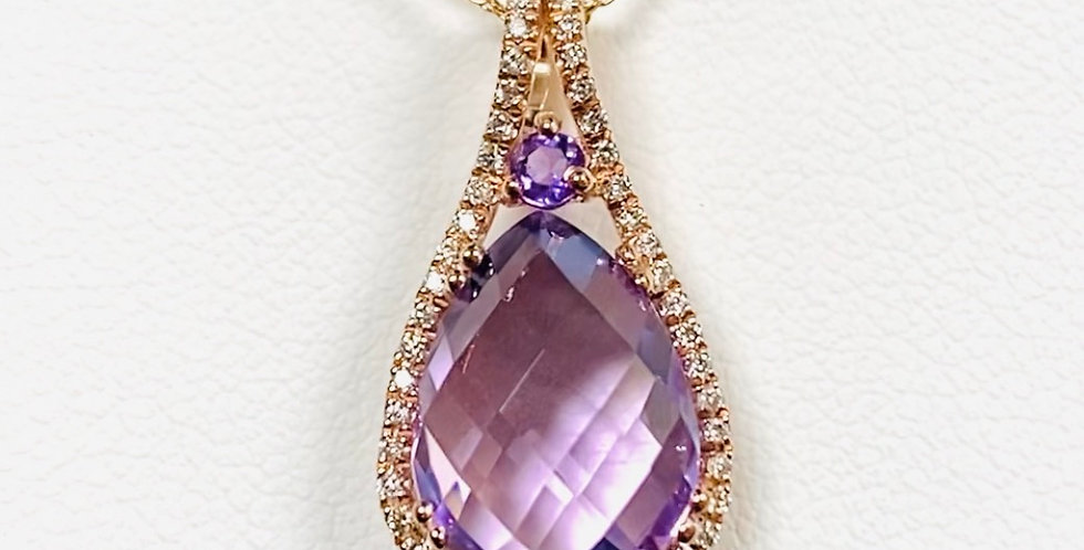 """Amethyst & Diamond Pendant In 14K Gold With 18"""" Chain"""