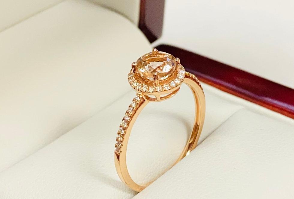 Morganite .75 ct & Diamond .16 ctw Halo Ring In 14K Rose Gold