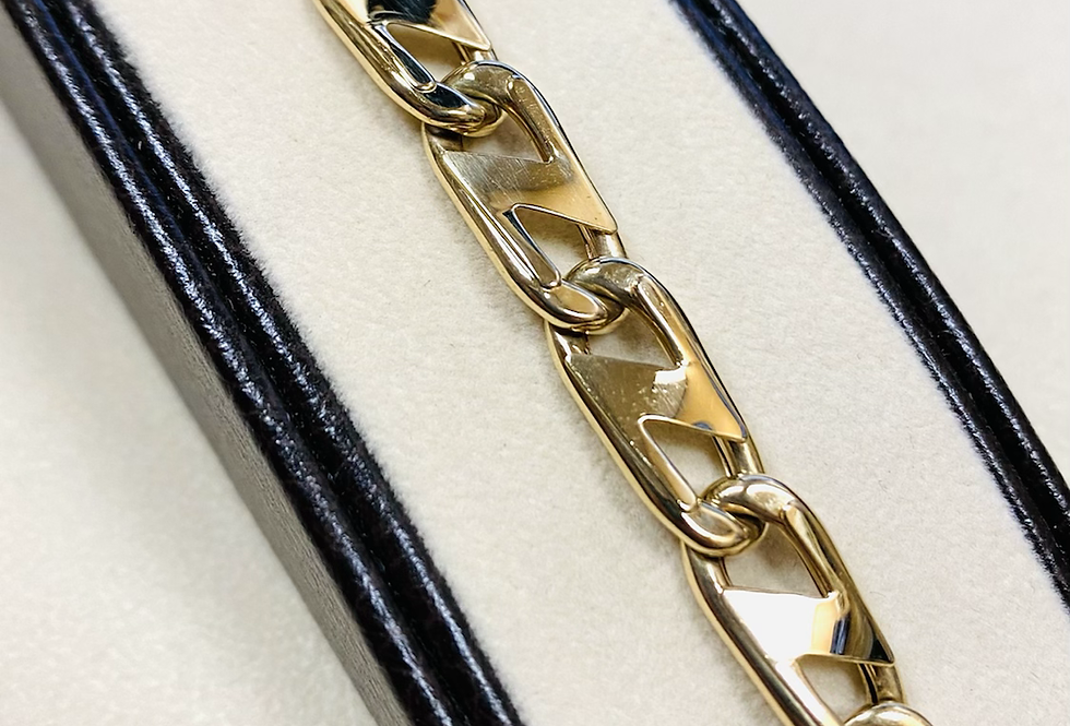 8mm Gucci Links Semi Hollow Bracelet In 14K Yellow Gold 8.5""