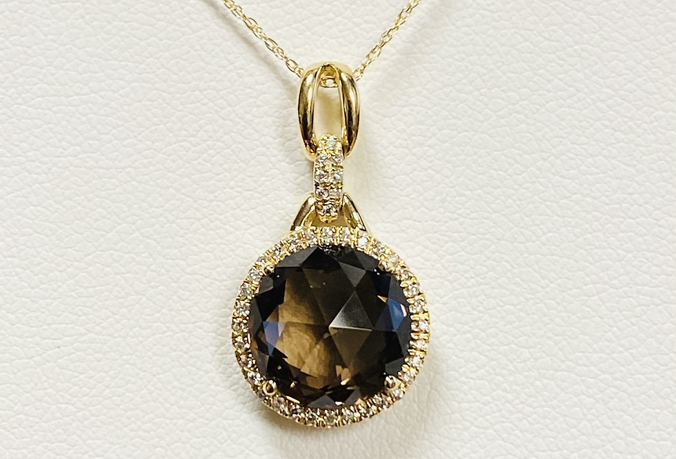 "Smokey Quartz & Halo Diamond Pendant In 14K Gold With 18"" Necklace"