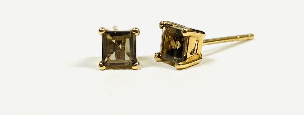 Princess Cut  Smokey Quartz .70 ctw Stud Earrings In 14K Yellow Gold