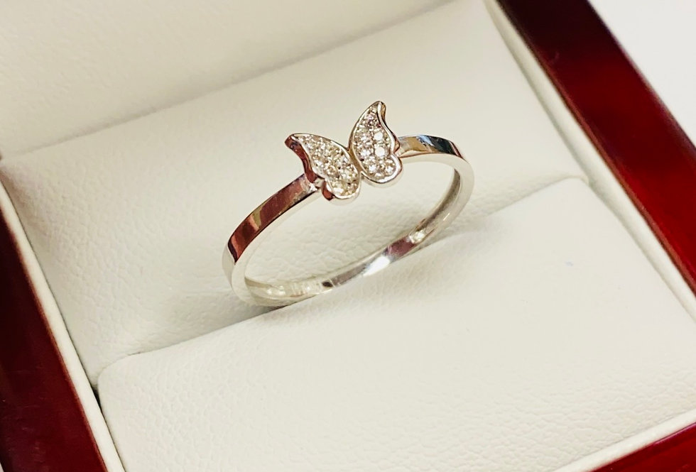 Butterfly Cubic Zirconia Ring in 14K White Gold