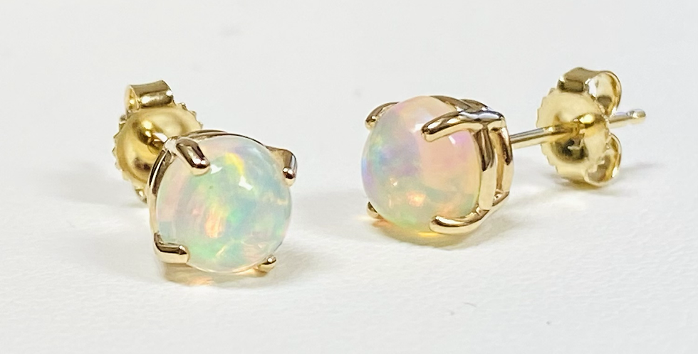 1.00 ct Natural Opal Stud Earrings in 14K Yellow Gold