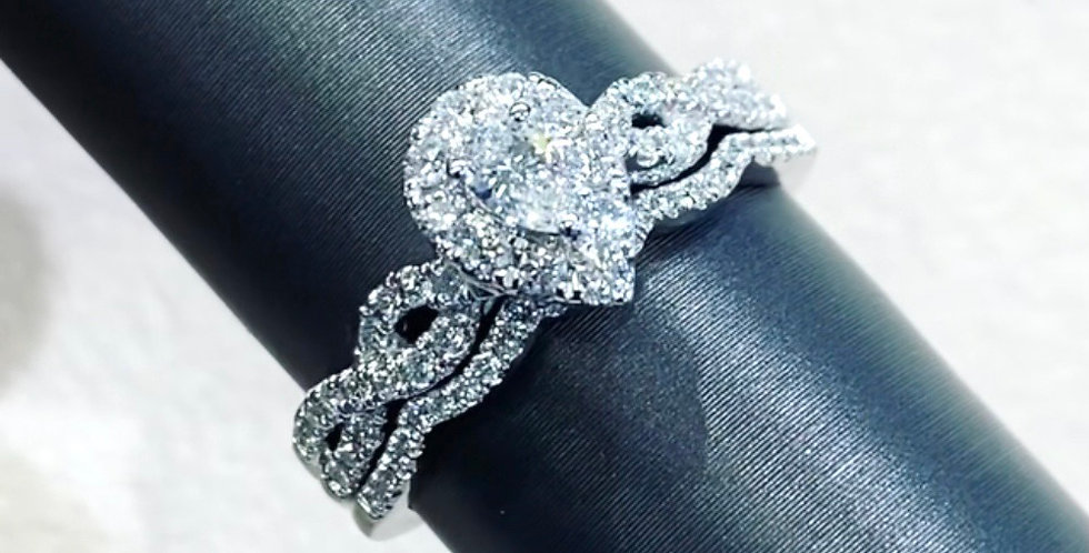 Pear Shape Diamond Halo .63ctw Wedding Set in 14K White Gold