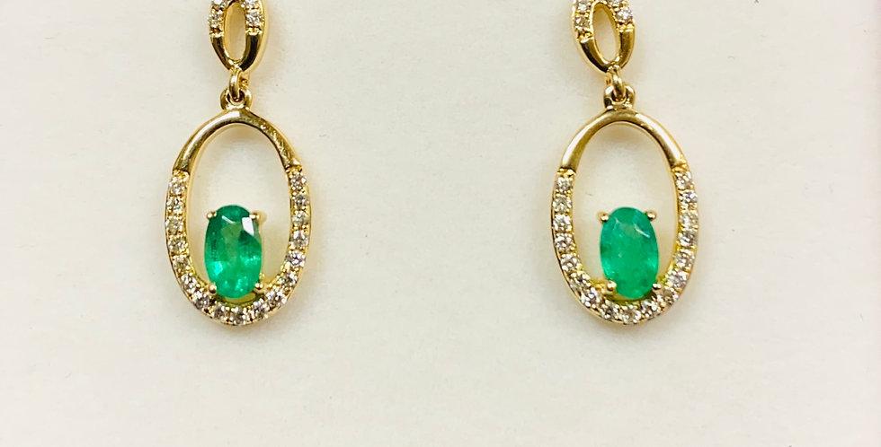 Oval Emerald .45 ctw & Diamond .20 ctw Dangling Earrings In 14K Yellow Gold