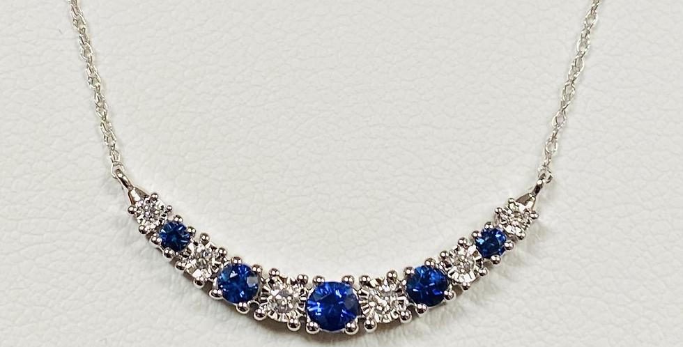 "Diamond & Sapphire Bar Pendant In 14K White Gold & 18"" Chain"
