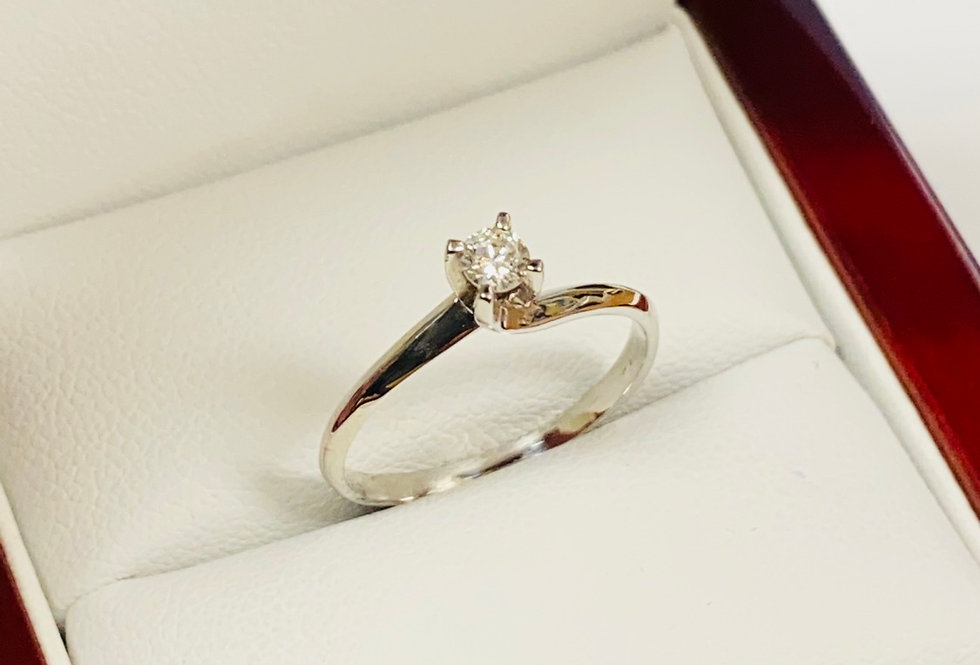 .13 CTW Round Diamond Solitaire Ring In 14K White Gold