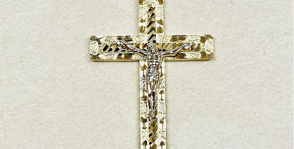 Diamond Cut Two Tone Jesus Christ Cross Pendant in 14K Gold