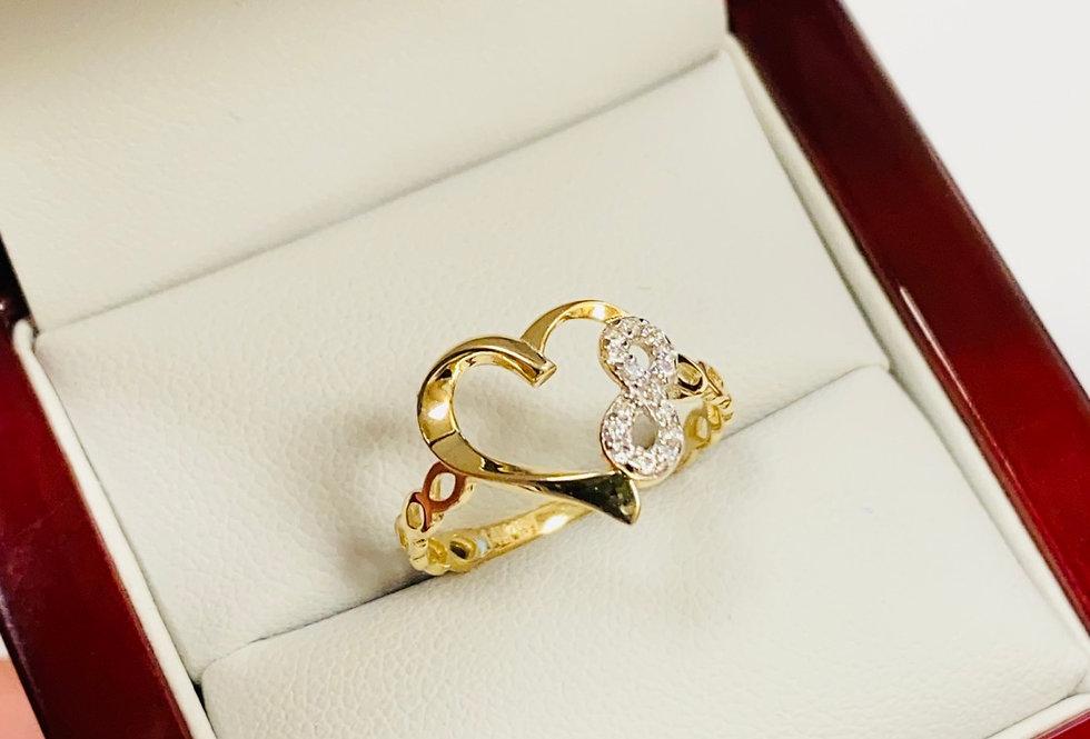 Open Heart Eternity Ring in 14K Yellow Gold
