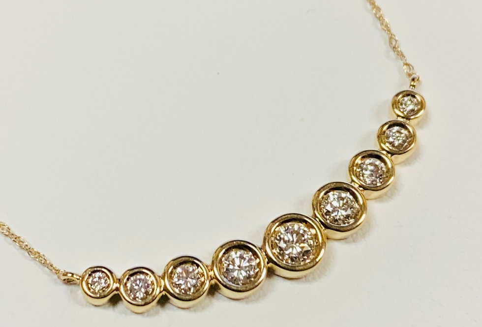 """Diamond Bezeled Bar Pendant With 18"""" Chain in 14K Yellow Gold"""