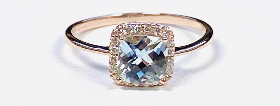 Aquamarine .85 & Diamond .11 Halo Ring in 14K Rose Gold