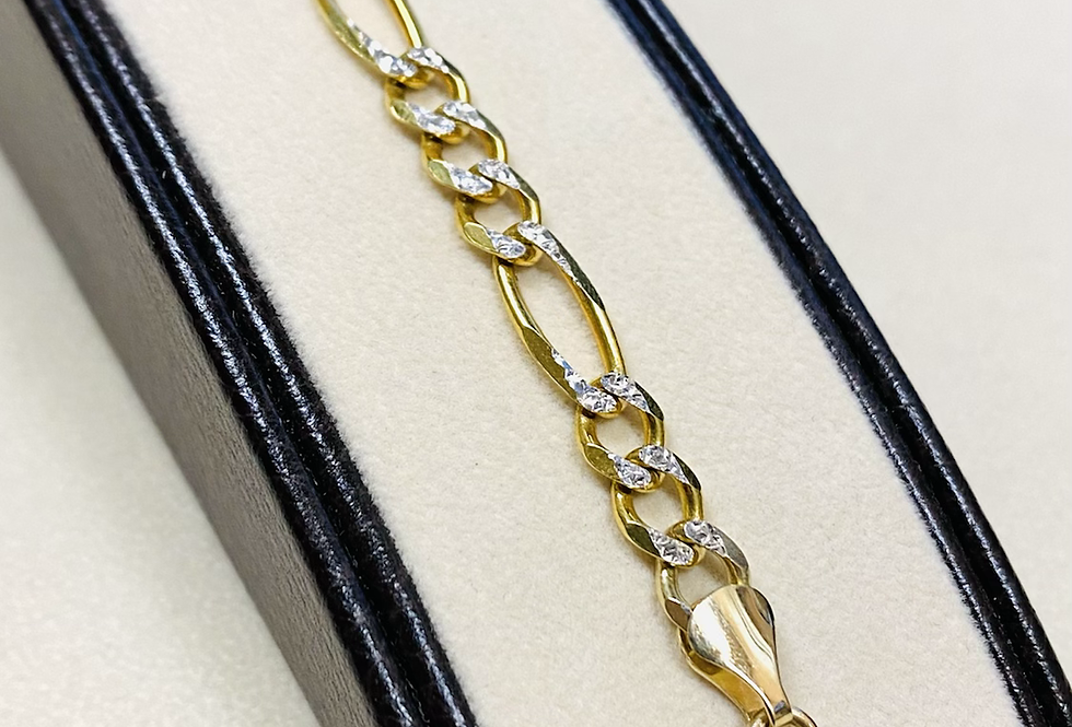 6 mm Diamond Cut Figaro Link Bracelet In 14K Yellow Gold