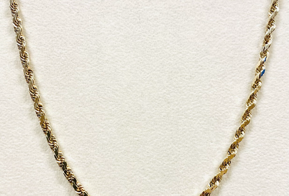 "3MM Rope Chain in 14k Yellow Gold 19.5 Grams 20"" With Box Clasp"